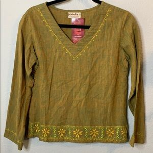 NWT Fabindia Hand Embroidered Indian Top